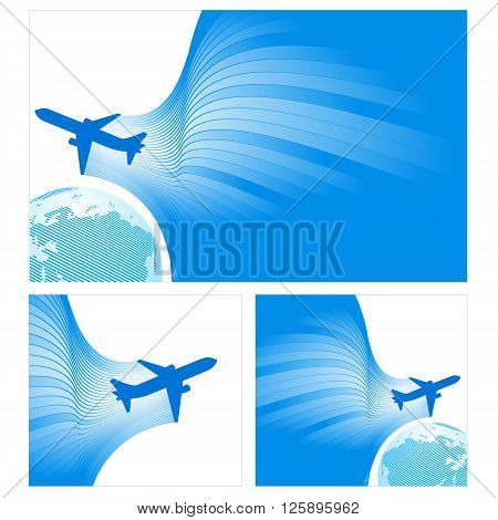 airplane flight tickets air fly cloud sky blue white color travel transtortation globe background