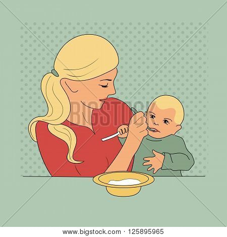 Mother feeding her baby with spoon. Vintage style and colors. Vector illustration. EPS10