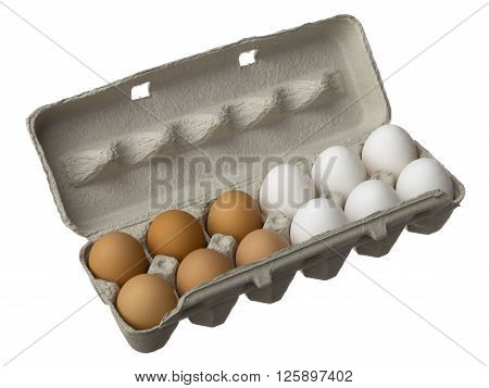 Egg Carton With White And Brown Eggs
