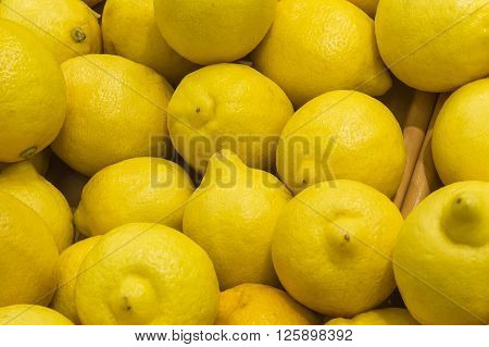 Fresh Lemons From Market Display Shelves Real With Flaws And Bru
