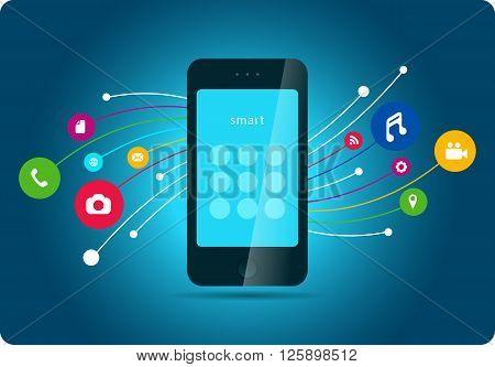 smartphone icons media element communication blue background