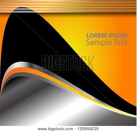 Orange Grey background gray curve line on space shadow overlap and dimension modern texture pattern for text and message website design