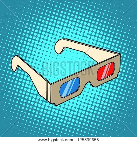 Stereo 3d glasses for cinema pop art retro style. Spectacle and leisure. Cardboard glasses in retro style
