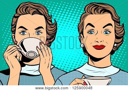 Girl with a Cup of tea or coffee pop art retro style. Hot drinks. Breakfast business woman