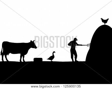 Vector illustration of a pet, farmer, cattleman. Isolated silhouette on a white background.
