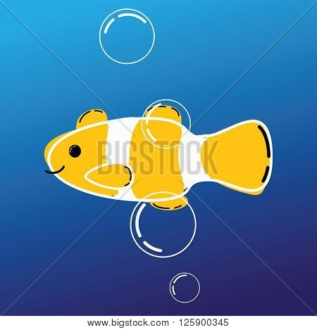 cartoon image of sea fish clown.coral fish