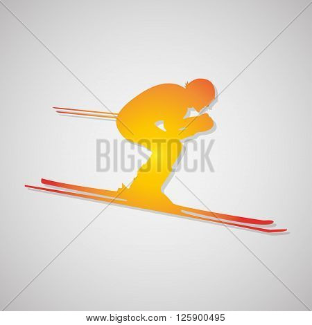 Skier Icon With Shadow In Orange. Vector Illustration
