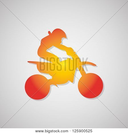 Motorcyclist Icon With Shadow In Orange. Vector Illustration