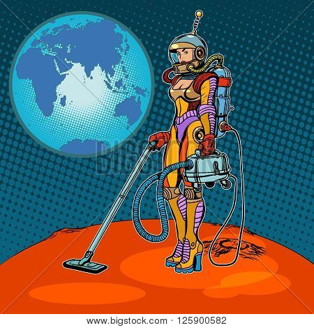 Girl cosmonaut cleaned of Mars pop art retro style. Space exploration and development of Mars. A woman and a vacuum cleaner. Retro Mars vector. Science fiction. Humor. Ecology and waste processing