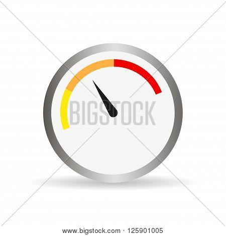 Round Gauge With Arrow And Shadow. Vector Illustration