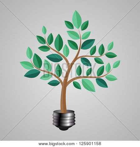 Jack Bulb With A Tree. Vector Illustration