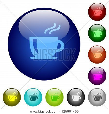 Set of color cappuccino glass web buttons.