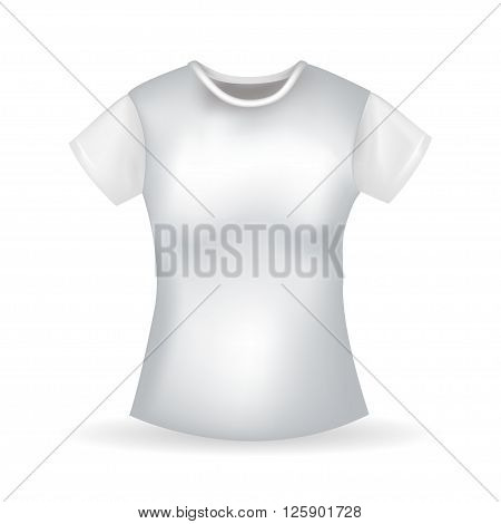 Women's raelistic white T-shirt with shadow. Vector illustration