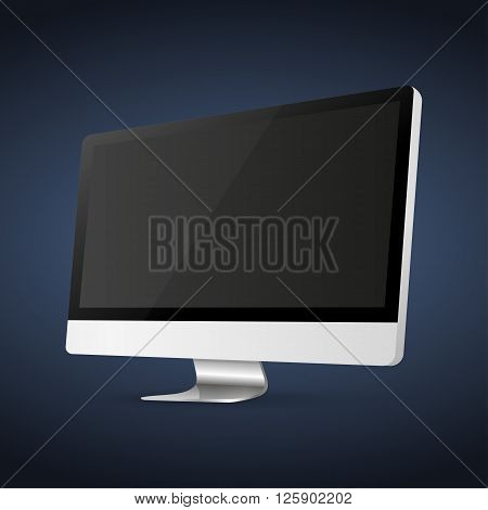 Computer display isolated on blue background . Vector eps10