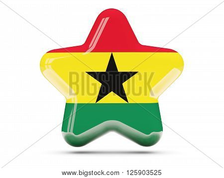 Star Icon With Flag Of Ghana