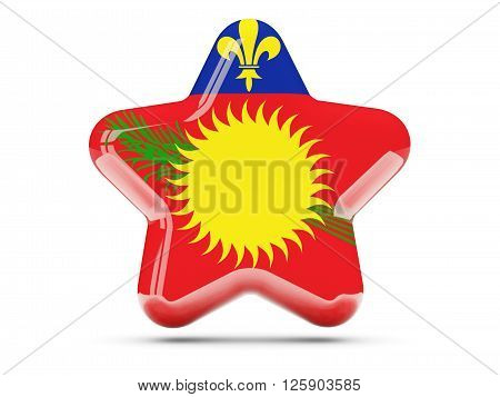 Star Icon With Flag Of Guadeloupe
