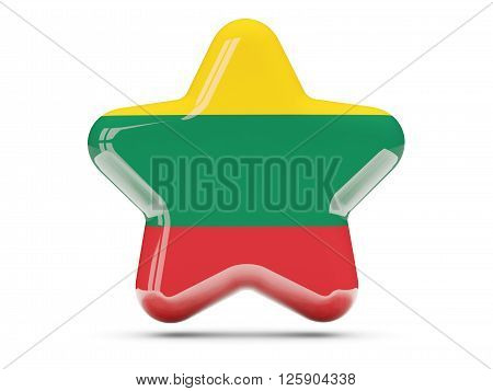 Star Icon With Flag Of Lithuania