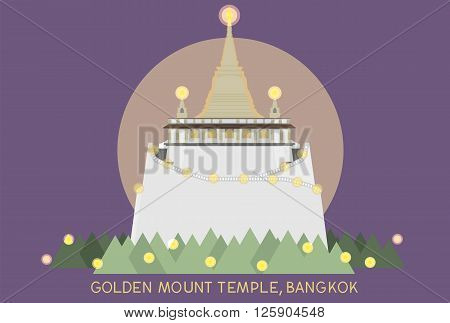 vector of golden mount in Bangkok Thailand on blue background