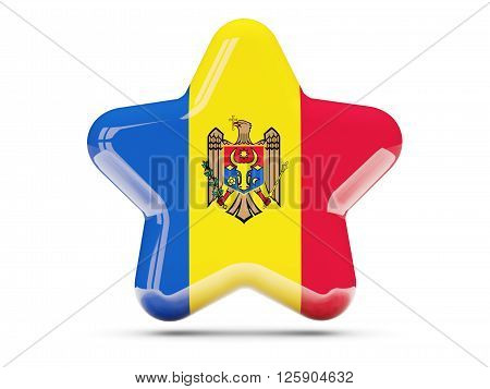 Star Icon With Flag Of Moldova