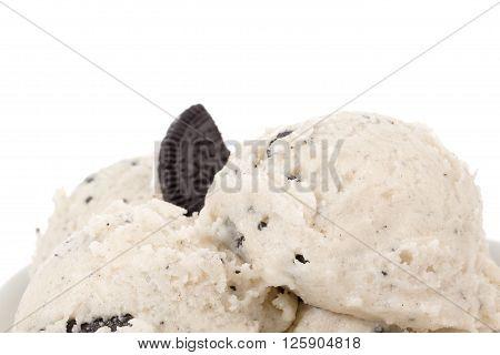 Macro Shot Of Cookies And Cream Ice Cream