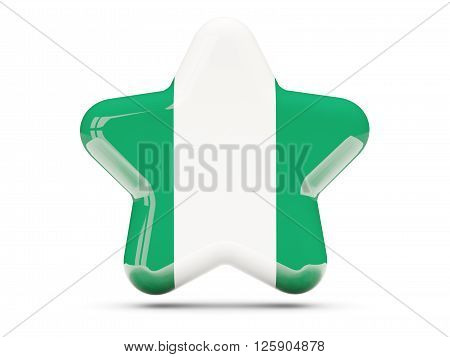 Star Icon With Flag Of Nigeria