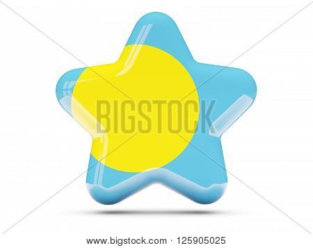 Star Icon With Flag Of Palau