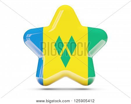 Star Icon With Flag Of Saint Vincent And The Grenadines