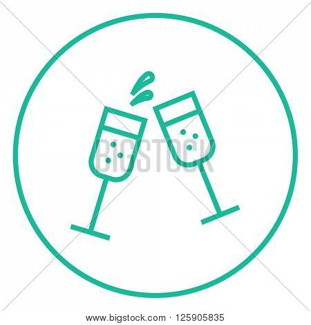 Two glasses of champaign line icon.
