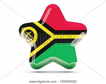 Star Icon With Flag Of Vanuatu