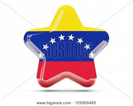 Star Icon With Flag Of Venezuela