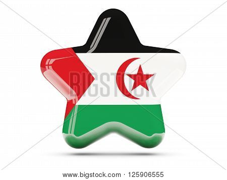 Star Icon With Flag Of Western Sahara