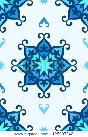 Seamless kazakh ornament, Abstract vector background blue colors