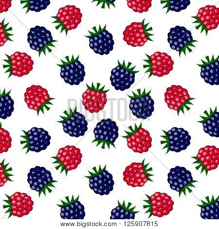 Raspberry and blackberry on white background pattern. Vector EPS 10.