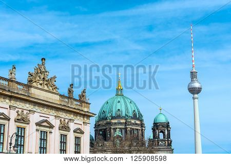 The TV Tower, the Dom and the Museum of History in Berlin, Germany