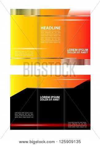 Tri-Fold Brochure Design. Tri-fold technology Style Brochure Layout Design Template