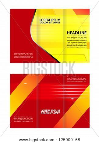 Professional three fold business flyer vector template