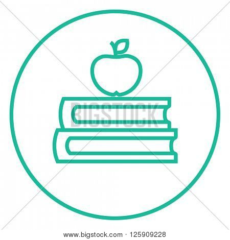 Books and apple on top line icon.