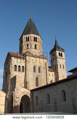 CLUNY FRANCE -  June 8 2014 : Cluny Abbey clocktower. Cluny is the symbol of the monastic revival. The abbey was a leading intellectual center in the Middle Ages. Only a part subsists under protections of Historic monuments. The buildings of the abbey she