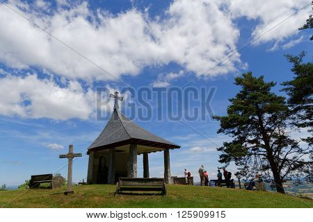 Golinhac, France, June 19, 2015 : Small Oratory Of Notre-dame Des Hauteurs Dominates The Surrounding