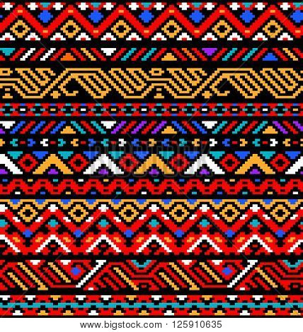 Colorful red ethnic geometric striped aztec seamless pattern, vector background