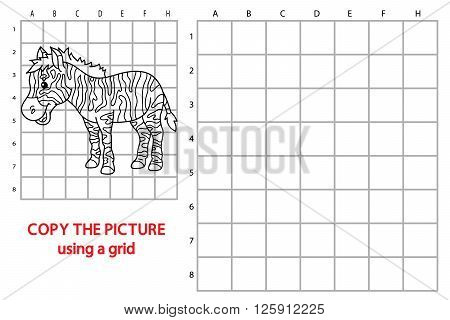 zebra educational grid game. Vector illustration of grid copy educational puzzle game with happy cartoon zebra for children