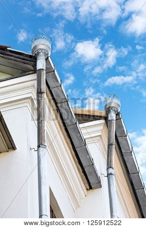 Drainpipes For Rain Drainage On A House Roof