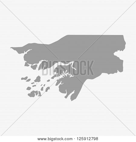 Guinea-Bissau map in gray on a white background