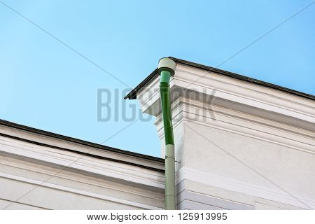 Wall Of Old House With Gutter