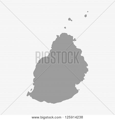 Map of Mauritius in gray on a white background