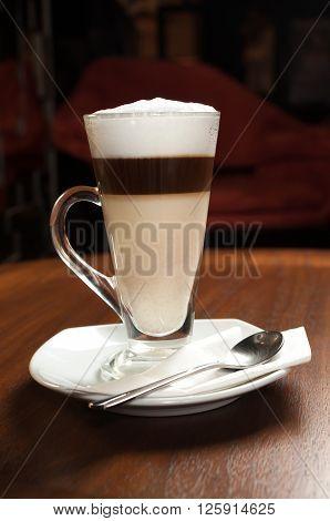 Coffee series : Hot Cappucino in glass mug