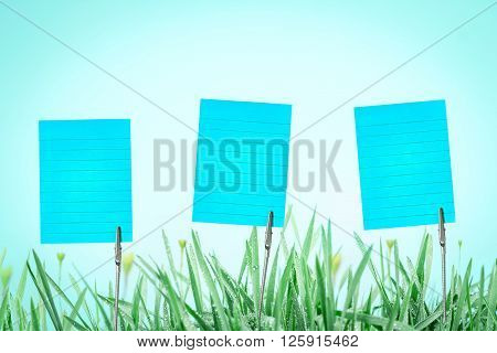 Silver Business Card Holder on fresh green grass with droplets after the rain with copy space background
