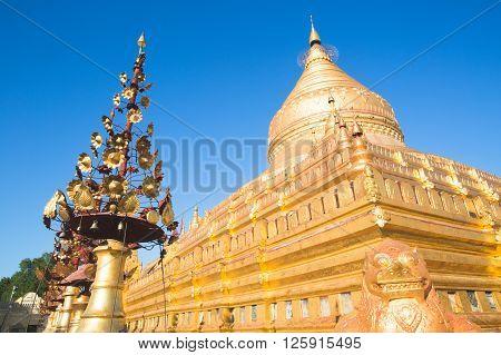 The Golden Shwezigon Pagoda in Burma (Myanmar)