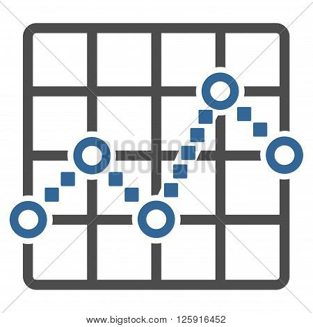Line Plot vector toolbar icon. Style is bicolor flat icon symbol, cobalt and gray colors, white background, square dots.