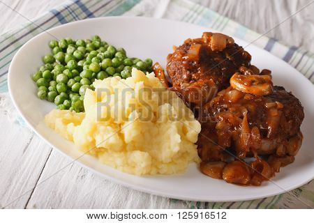 Simple Food: Salisbury Steak With Mashed Potatoes And Green Peas